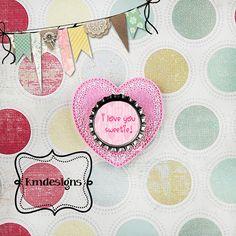 Bottle cap Lacey Heart feltie ITH Embroidery design file