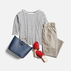 Month of Outfits- red slides! And stripes! Clothing Staples, Stitch Fix Outfits, Denim Trends, Stitch Fix Stylist, Couple Shirts, Look Cool, Spring Summer Fashion, Spring Outfits, Color Pop