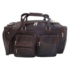 Piel Leather 20In Duffel Bag with Pockets Chocolate One Size -- Click on the image for additional details.