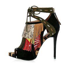 Chaussures RI Studio imprimées noires à talons et franges