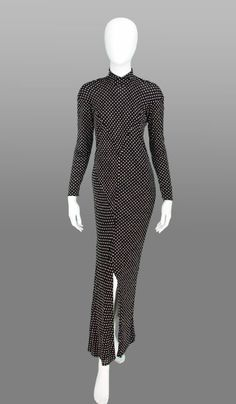 """Jean Muir dot knit jersey maxi dress.""""Classic Jean Muir...soft, fluid,unstructured jersey seamed to perfection showcasing the body to perfection."""" Stock number: PBV001304. (Sold)"""