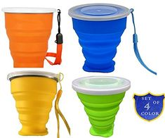 Cuca Dunna Silicone Folding Collapsible Cup Travel Camping Hiking Mug,Set Of 4 * Additional details at the pin image, click it  : Camping equipment