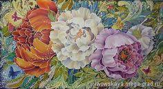 Летняя фантазия 2 - батик, картины с цветами. МегаГрад - авторская ручная работа