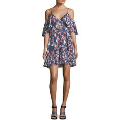 Tanya Taylor Designs Amylia Floral-Ikat Silk Stripe Short Dress (1.625 BRL) ❤ liked on Polyvore featuring dresses, navy, floral dresses, navy dresses, stripe dresses, striped dress and a line dress