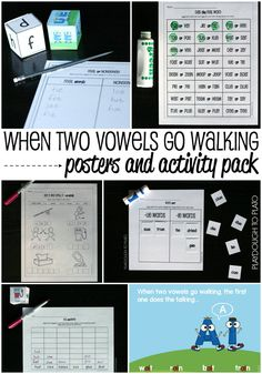 "Nine eye catching posters plus six motivating follow up activities. Awesome ways to teach kids what happens ""when two vowels go walking""."