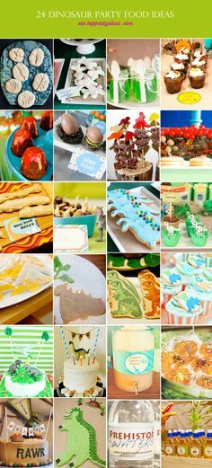 24 Dinosaur Party Food Ideas:  1. Fossil cookies, 2. Meringue Bones, 3. Junge Slime, 4. Cup of Dirt, 5. Lava Cakes, 6. Dino Eggs, 7. Candy Kebab, 8. Earth Trifle 9. Prehistoric Bread 10. Dino Claws 11. Dino Cookies 12. Dino Cupcake 13. Pterodactyl Sandwiches 14. Dino Sandwiches 15. Dino Cookies 16. Cupcake Toppers 17. Partying Dino Cake 18. Cake 19. Volcano Float 20. ice cubes 21. Cake Topper, 22. Dino Cake w. Candy Spikes, 23. Prehistoric Water from the Ice Age, 24. Dino Drink Labels