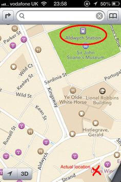 """""""Apple hasn't quite realised that Aldwych tube station was on the Strand. Or that it closed in 1994."""""""