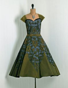 1950's Iridescent Sage-Green Floral Cutwork-Illusion Sequin Tulle-Taffeta