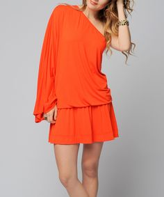Love this Sara Boo Orange Asymmetrical Dolman Dress by Sara Boo on #zulily! #zulilyfinds