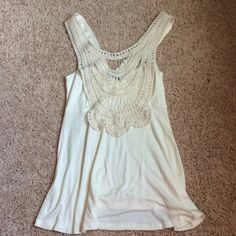Cream crochet top Cream tank top with beautiful crochet detailing Venus Tops