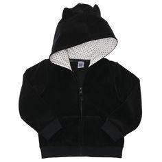 Black Eared Velour Zip-Front Carter's girls hoody