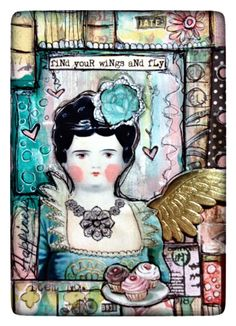 Created for Retro Cafe ART Gallery DT.  -Victorian Dollie Collage Sheet -Golden Foiled Wings