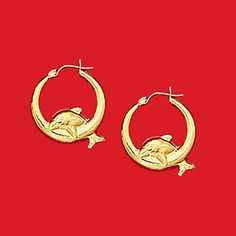 10Kt Yellow Gold Door Knocker Dolphin Hoop Earrings #EBAG1664 $195.00