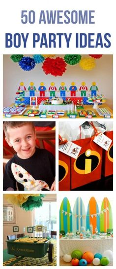 50 awesome boy party ideas // 50 ideas geniales para fiestas de niños