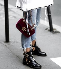 Gucci velvet bag - Balenciaga boots Always thought these boots were so cool. Fashion Details, Look Fashion, Street Fashion, Winter Fashion, Womens Fashion, Fashion Trends, Fashion Boots, Catwalk Fashion, Fashion Mode