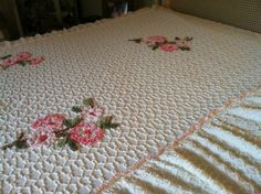 Vintage white and floral  twin-size chenille bedspread