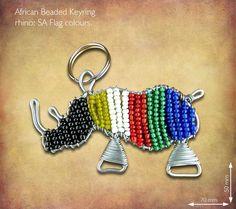 Beaded SA Flag Rhino Keyring