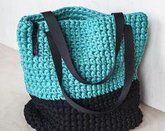 Custom Tote Bag/ Crochet Shoulder Bag/ Everyday Woman's Bag/ Shopper Bag/ Tote Bag/ Everyday Bag Tote/ Everyday Tote/ Crochet Tote Recycled