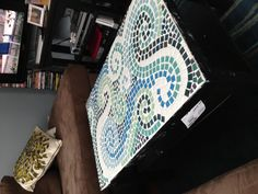 Refinished ikea coffee table with mosaic tiles