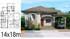 Home design plan with 3 Bedrooms.House description:One Car Parking and gardenGround Level: Living room, Bedroom with bathroom, 2 Bedrooms, Square House Plans, Free House Plans, House Layout Plans, House Layouts, Bungalow House Plans, Bungalow House Design, House Floor Plans, 4 Bedroom House Designs, Three Bedroom House Plan