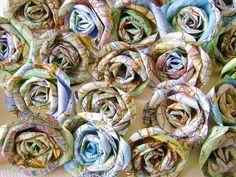 @Sarah Martin- Vintage atlas map paper flowers set bulk lot of by HBixbyArtworks, $58.25
