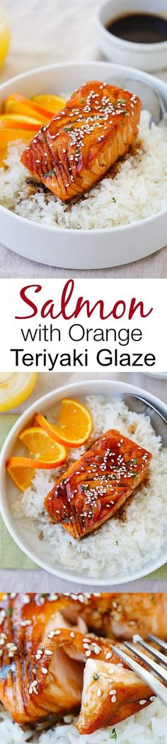 Salmon with Orange Teriyaki Glaze – the easiest & tastiest salmon you'll ever make. Delicious salmon with tangy, sweet & savory orange teriyaki sauce   rasamalaysia.com