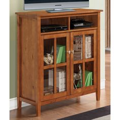Norfolk Honey Brown Medium Storage Media Cabinet & Buffet | Overstock™ --Dimensions: 42 inches high x 39 inches wide x 16 inches deep...Two (2) doors with tempered glass--$259.04