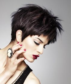 Short Black straight multi-tonal choppy spikey womens haircut hairstyles for women ❤ Love this style? Love your your skin too! > http://mchappelle.theneriumlook.com/ ❤