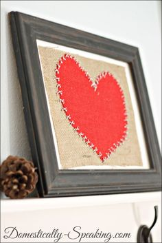 Cute burlap and baker's twine art for Valentine's Day