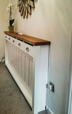 *hallway Dresser* Handmade to Measure Radiator Cover Cabinet Bespoke for sale online Diy Radiator Cover, Radiator Ideas, Hallway Storage Cabinet, Home Radiators, Flur Design, Hallway Designs, Hallway Ideas, Small Hallways, Hallway Decorating