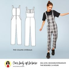 Collins Overalls Sewing Pattern / Coveralls Sewing Pattern / Utility Jumper Sewing Pattern / Women& Coveralls Sewing Pattern, Maybe you are a beginner sewist trying to find some easy stitching projects, or maybe you are only , Dress Sewing Patterns, Sewing Patterns Free, Free Sewing, Clothing Patterns, Paper Patterns, Pattern Sewing, Pattern Drafting, Skirt Sewing, Skirt Patterns