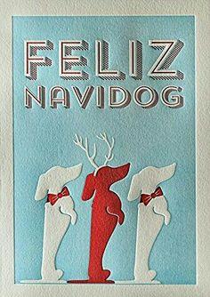 Dachshund Christmas Card by Elum Designs Feliz Navidog Letterpress Holiday Cards Arte Dachshund, Dachshund Love, Daschund, Funny Dachshund, Christmas Dog, Christmas Crafts, I Love Dogs, Puppy Love, Weenie Dogs