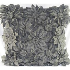Design Accents Felt Flowers Pillow in Grey - BLOOM THREE