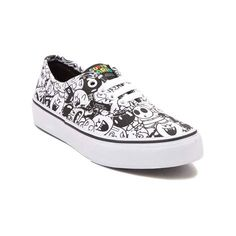 Take a walk on the dark side of gamer style with the new Authentic Super Mario Villains Skate Shoe by Vans. These wicked Vans Super Mario Villains Skate Shoes feature a collage of Koopa Troop graphics, including Baby Bowser, Boo, Goomba, Bob-omb, Chain Chomp, and Shy Guy. <b>Only available at Journeys Kidz!</b>  <br><br><u>Features include</u>:<br> > Durable canvas uppers<br> > Front lace closure offers a secure fit<br> > Padded footbed provides cushion and support<br> > Vulcanized rubber…