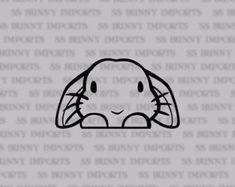 Hangoor konijntje sticker; gluren schattig konijn laptop sticker / auto sticker / telefoon vinyl decal, glanzend zwart