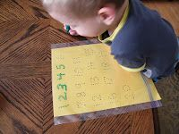 Create a numbers tracing sheet and alphabet tracing sheet on construction paper, and slip the sheets into gallon zip top bags.  Using dry erase markers, your child can trace the dotted numbers or letters to practice writing.