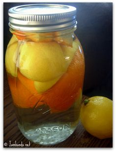 DIY Citrus Vinegar Cleaning Solution 1 qt  2 Lemons  2 Oranges  vinegar  water (used later, see below)   1.Juice fruit and scrape out the fleshy parts, leaving outer skin and pith.  2. In a quart jar add vinegar and rind and close for 2 wks, then strain. Rinse jar. Add liquid back & cap. This is the concentrated cleaning solution.  3.Fill the spray bottle 3/4 of the way up with water. Use funnel, add the citrus vinegar mix to spray bottle. Shake to combine. Store this solution in the fridge.