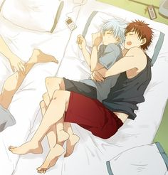 Taiga x Tetsuya (Kuroko No Basket)- I can't help but wonder whose leg and arm that is.....anyone know?