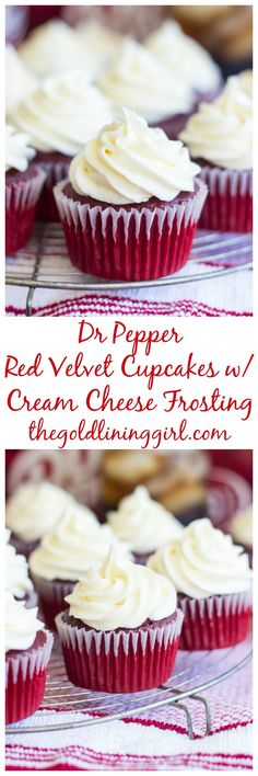 Dr Pepper Red Velvet Cupcakes with Cream Cheese Frosting pin
