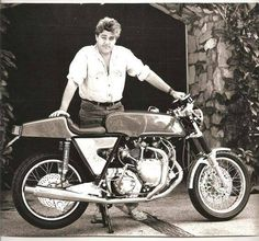 """legendbiker: """"A young Jay Leno with a Vincent motorcycle."""""""