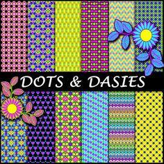 Dot & Daisy Paper  Matching ClipArt  Dots by ArtWildflowersDigi