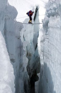 Mount Everest. Nepal. Crevasse.