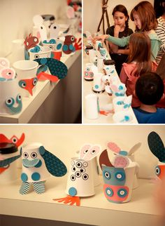 Use blank paper cups for arts and crafts! Have kids at a birthday party or kids in a classroom design paper cup monsters!