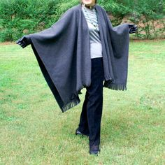 Charcoal Gray Anti Pill Fleece Wrap, Poncho, Cape, Blanket Scarf or Shawl with Fringe--Lightweight Warmth--One Size Fits Most by YoungbearDesigns on Etsy