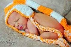 Hand crocheted orange & white  team color  pixie hat for infant $17