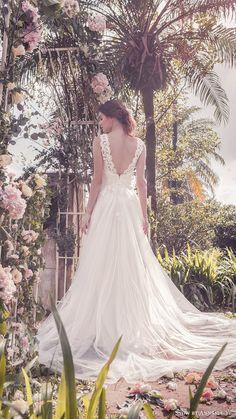 snow annasul y 2017 bridal (sa3332b) sleeveless thick straps vneck lace bodice a line wedding dress bv train