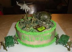 Homemade Call of Duty Cake: I made this Homemade Call of Duty Cake for my nephew Jacob's birthday. He is always playing the game on his ps3. I bought a couple packs of army men and