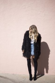 Big boxy black faux fur coat! ATK black boots, white tee, and jean skirt
