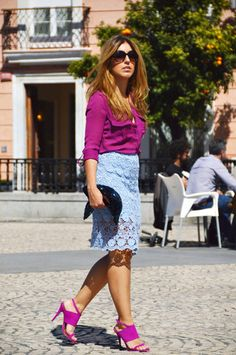 Pairing a purple dress shirt and a light blue lace pencil skirt is a surefire way to inject style into your current wardrobe. Purple suede heeled sandals will never date. Purple Shirt Outfits, Purple Dress Shirt, Blue Pencil Skirts, Pencil Skirt Outfits, Blue Lace, Purple Suede, Spring Outfits, Lace Skirt, Clothes For Women