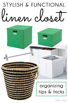 Boxes from IKEA     -   SO STYLISH AND FUNCTIONAL! These 7 tips will help you create a pretty and organized linen closet on a budget!